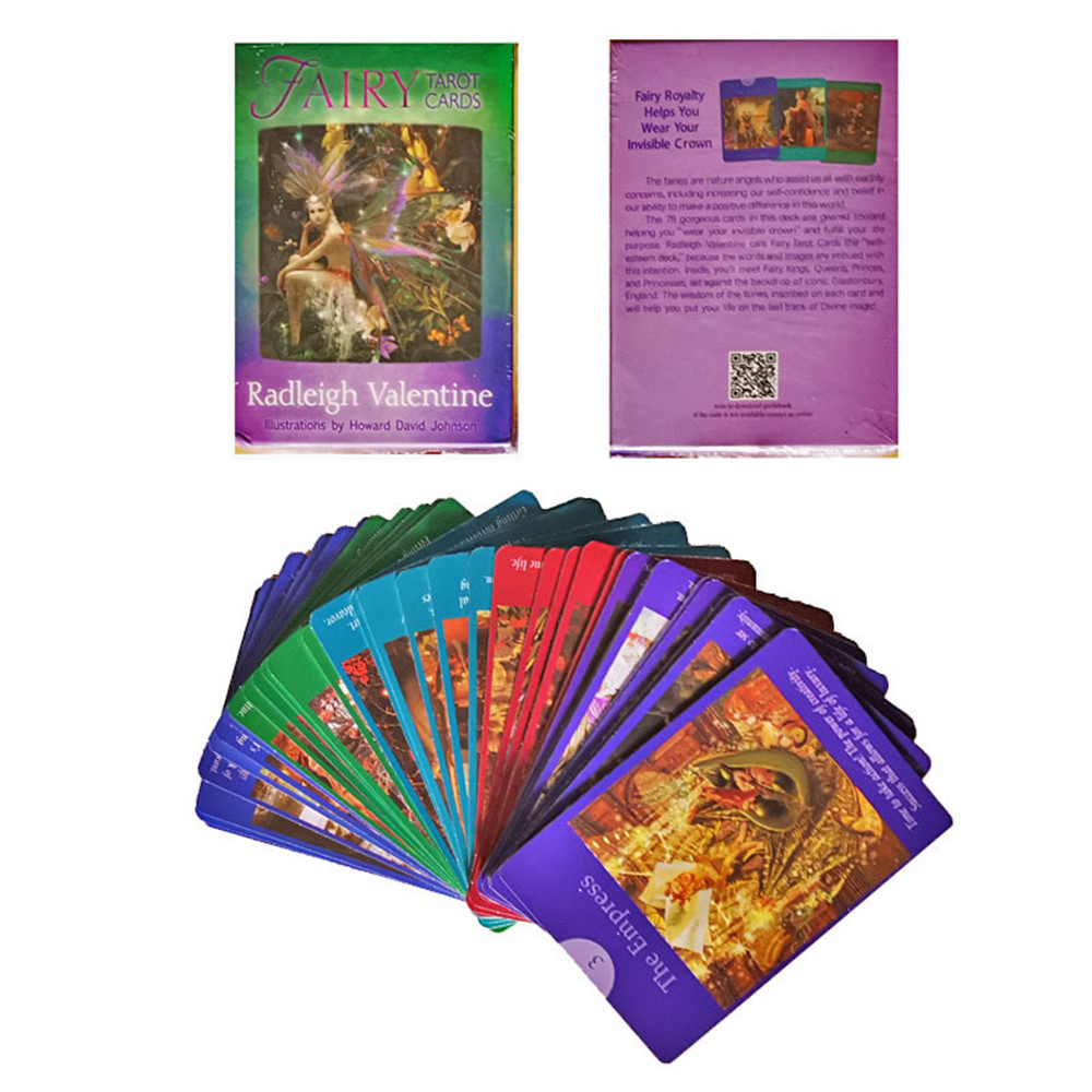 78pcs New Original English Oracle Tarot Fairy Silver Card Deck Tarot Divination Fate Tarot Board Game Family Party Playing Game