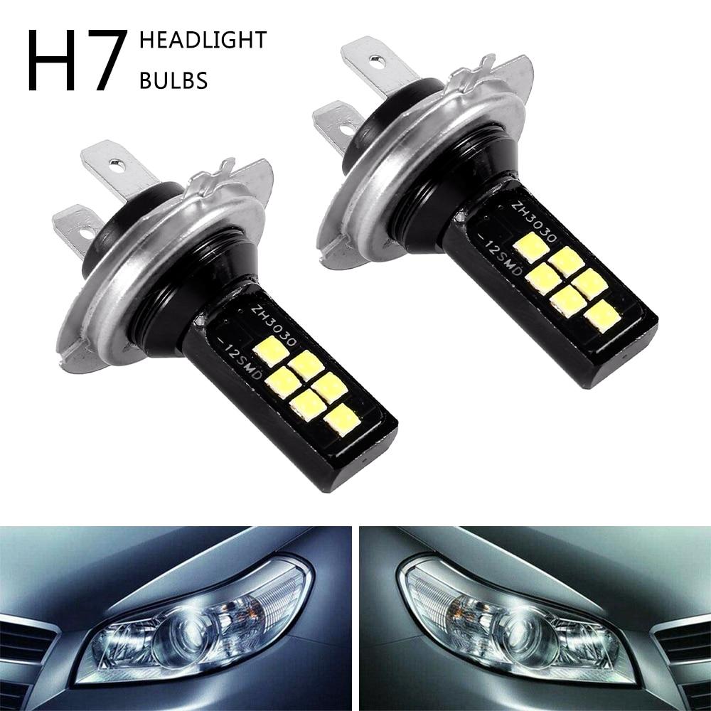 2PCS H7 LED Car Anti-fog Light Bulb 12W 6000K 1200LM Headlight Bulbs 12SMD 3030 Led Motorcycle Signal Lamp Car Accessories