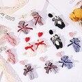 Женские серьги-подвески ручной работы, милые Креативные висячие серьги в клетку с плюшевым медведем в Корейском стиле, 2019