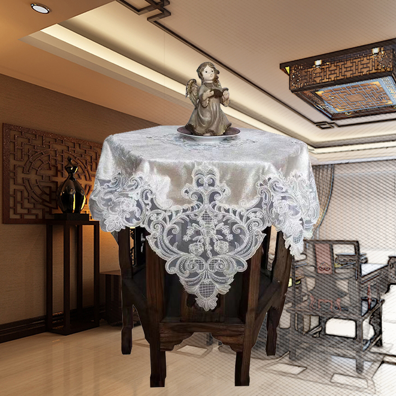 Luxury European Velvet Lace Embroidery Home Restaurant Tablecloth Kitchen Balcony Table Mat Cloth Christmas Wedding Decoration