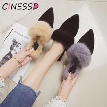 Real Rabbit Fur Slippers Mules Pointed Toe Elegant High heels Shoes Women's Autumn New Furry Slides Flip Flops Office Work Shose