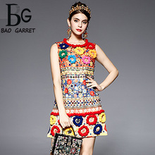 Baogarret High Quality Fashion Designer Dress Womens Sleeveless Fuzzy Ball Diamonds Beading Baroque Printed Embossed