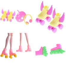 Kids Girls Toy Roller Play Accessories 1 Set Roller Skate Fancy Doll shoes+headset+helmet for dolls/Doll Skating Shoes Toy(China)