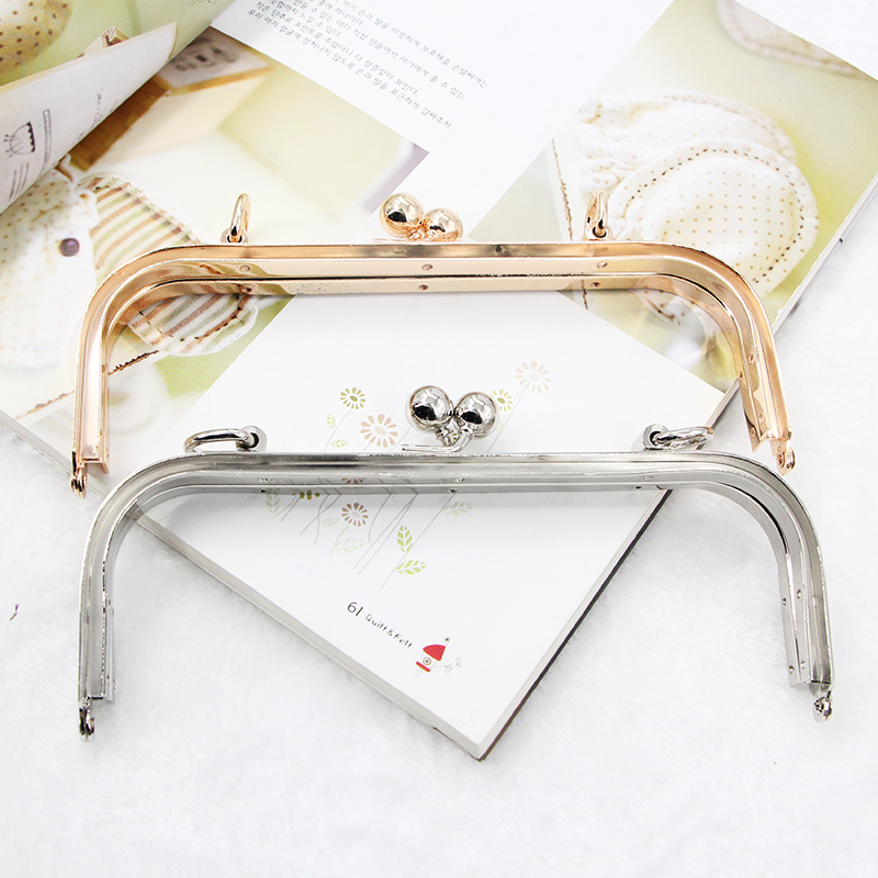 Hardware Accessories 18cm Manual DIY Luggage Accessories Silver Gold Metal Purse Frames Handle Clasp For Handbags Purse Frame