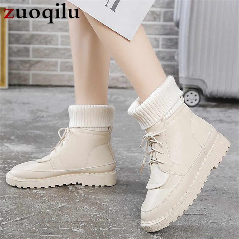 fashion white boots ladies waterproof