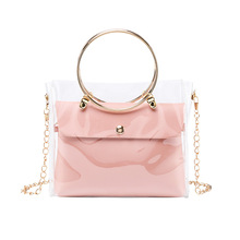 2020 shoulder bag big ring portable transparent jelly ladies and mother chain bucket small square bag transparent bucket bag and pouch bag