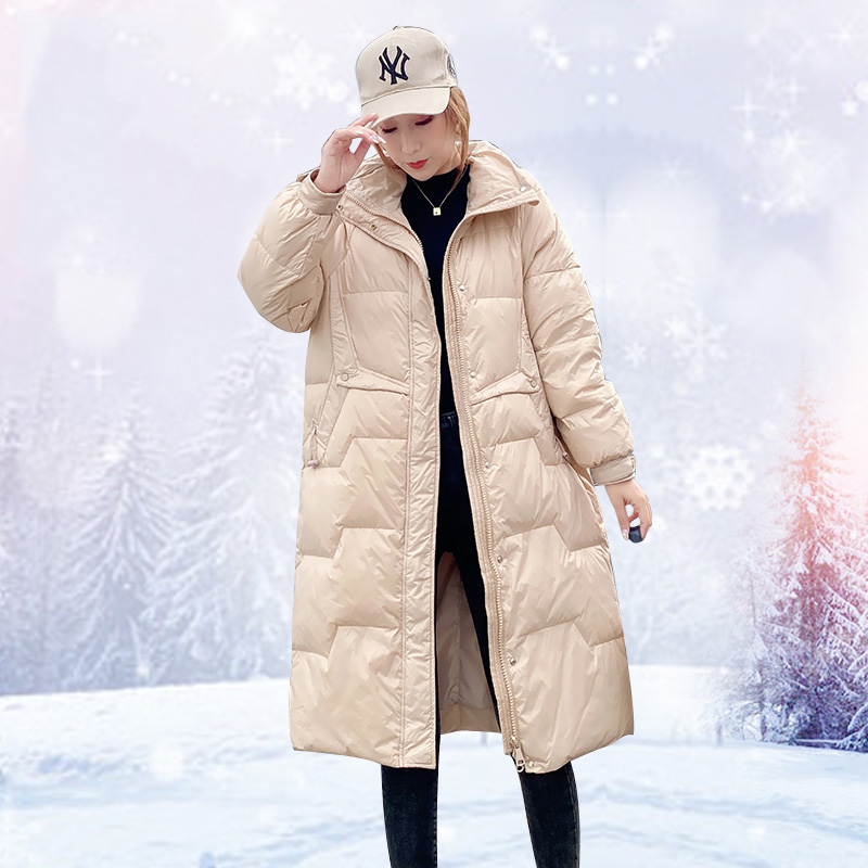 Ailegogo Winter Long Jacket Loose Women Thick Warm 90% White Duck Down Parka Stand Collar Windproof Yellow Snow Coat Outwear