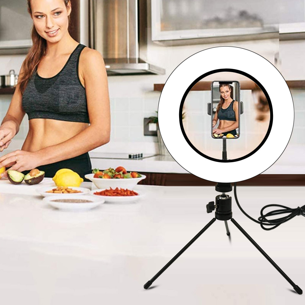 16 21 26cm USB LED Light Ring Photography Flash Lamp With Tripod Stand For Makeup Youtube VK Tik Tok Video Dimmable Lighting