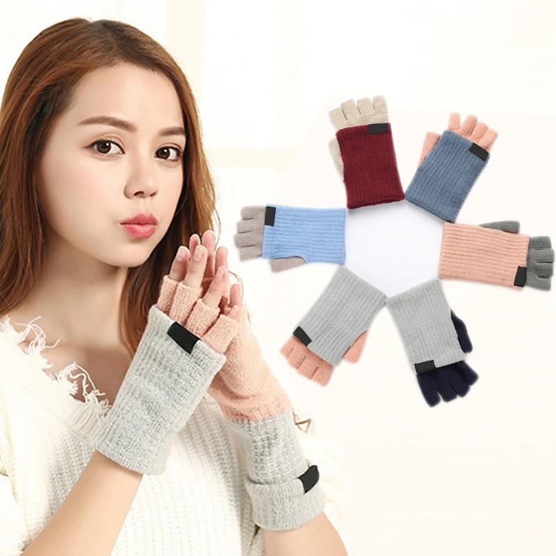 Womens Fashion Half Finger Gloves Keep Warming Knitting Glove For Winter Ladies Comfortable J9