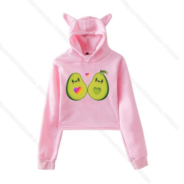 Cat Ear LIKEE Hoodies Female Pink Cat Crop Top New Russian Style Likee App Hoodie Women Avocado Sweatshirt Hip Hop Streetwear