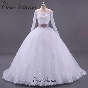 Boat Neckline Vintage Long Sleeves Crystal Ball Gown Bridal Gown with Sashes Zipper Button Vestido Novia Sirena Pure White W0005