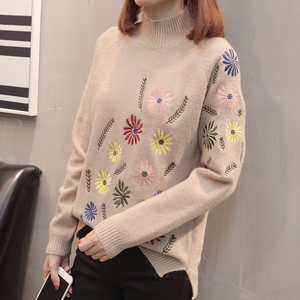 Image 2 - Neploe New Autumn Winter Sweater Elegant Floral Embroidery Pulover Long Sleeve Causal Jumper Female Loose Knitwear Tops