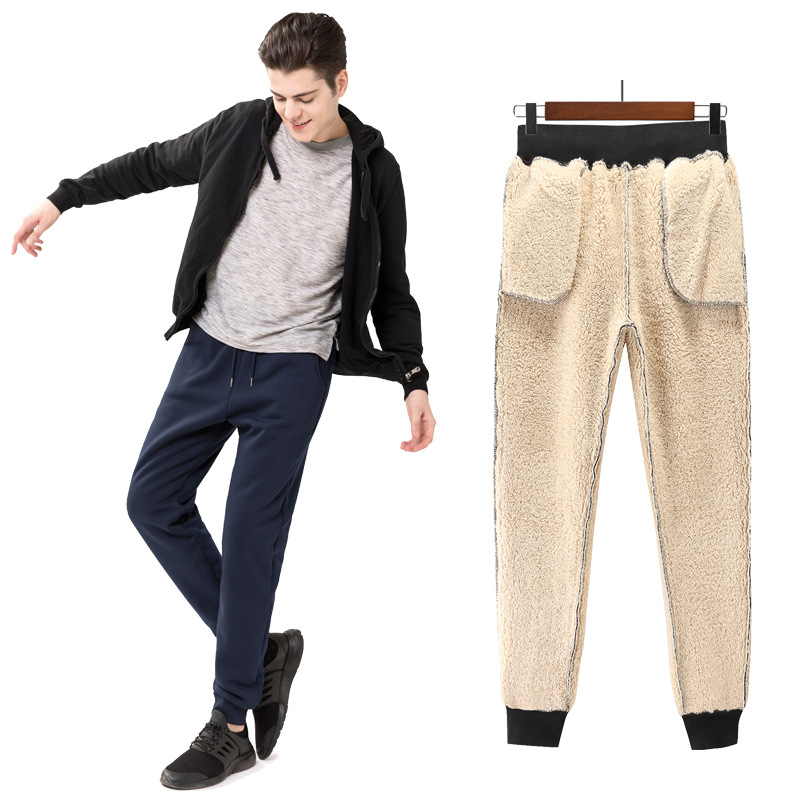 Fei Bai Autumn & Winter Athletic Pants Men's Brushed And Thick Trousers Loose Straight Warm Berber Fleece Athletic Pants Men's S