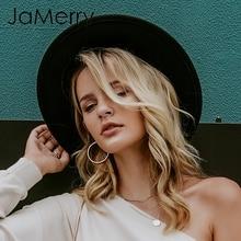 JaMerry винтажная шерстяная Фетровая Шляпа Fedora с широкими большими полями, женская элегантная Осенняя Зимняя шляпа-федора, одноцветная шляпа от солнца, женские шляпы