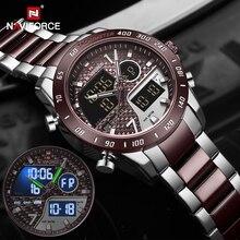 NAVIFORCE الرجال ساعة رقمية LED الرياضة العسكرية رجالي كوارتز ساعة اليد الذكور مضيئة مقاوم للماء ساعة الساعات Relogio Masculino