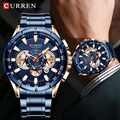 Reloj de pulsera de diseño único para hombres CURREN, reloj de pulsera de lujo para negocios, para hombres cronógrafo deportivo, reloj de fecha de cuarzo, reloj