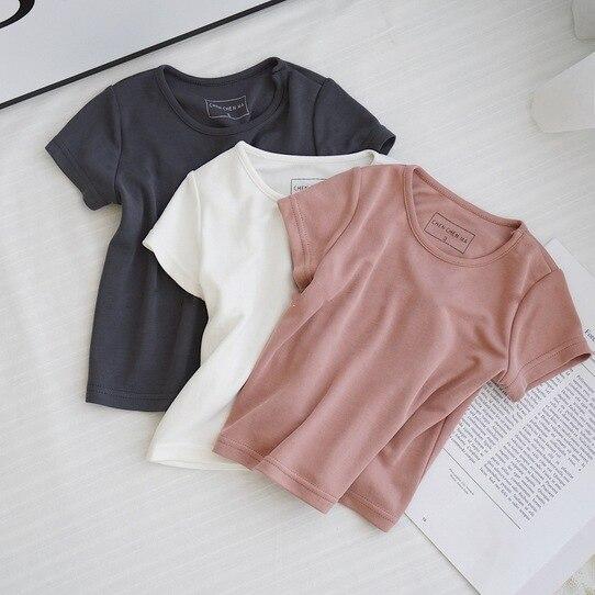 T-shirt Parent-Child Cartoon Printed Pattern Pure Plain T-shirt Lovely Leisure Basic T-shirt Summer Interesting Shirt Parent-Chi