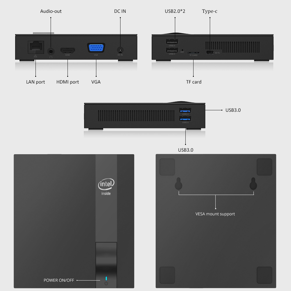 HTPC Tv-Box SSD Mini Pc Wifi Celeron J3455 Intel HDMI Ddr3l-M.2 Windows 10 Type-C Quad-Cores