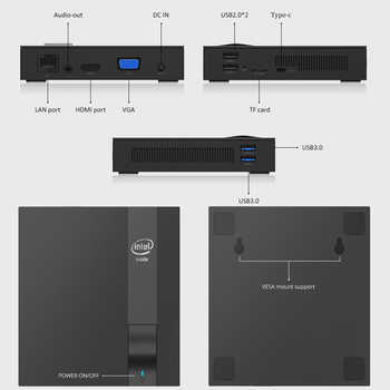 Quad-cores Mini PC Intel Celeron J3455 Windows 10 4K HTPC DDR3L M.2 SSD HDMI VGA 2.4/5.0G WiFi Bluetooth4.0 4*USB Type-C TV Box