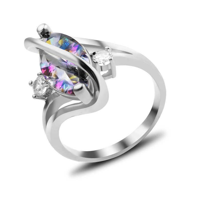 วันวาเลนไทน์ปืนสีดำสีเงินใบสาขาต้นไม้แหวนผู้หญิงผู้หญิง Simple anillos aneis คริสตัล Silver Finger แหวน