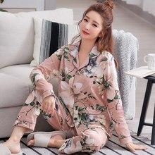 Damska piżama z długim rękawem wiosna bawełna kwiatowy kobiety piżamy luźne dwa kawałki zestaw kobiet piżamy Plus rozmiar 3XL Pijama Mujer