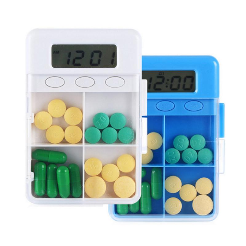 4 Grid Intelligent Plastic Storage Box Electronic Timing Reminder Medicine Boxes Alarm Timer Pills Storage Organizer Container