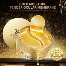 Ouro hidratante algas de cristal colágeno máscara de olho ácido hialurônico gel remendo 60 pçs anti-rugas anti envelhecimento remover círculos escuros