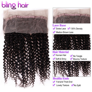 Image 3 - ブリンブリン髪ブラジル変態カーリー 360 レースフロントで事前摘み取ら 100% レミー人間の髪閉鎖漂白ノット