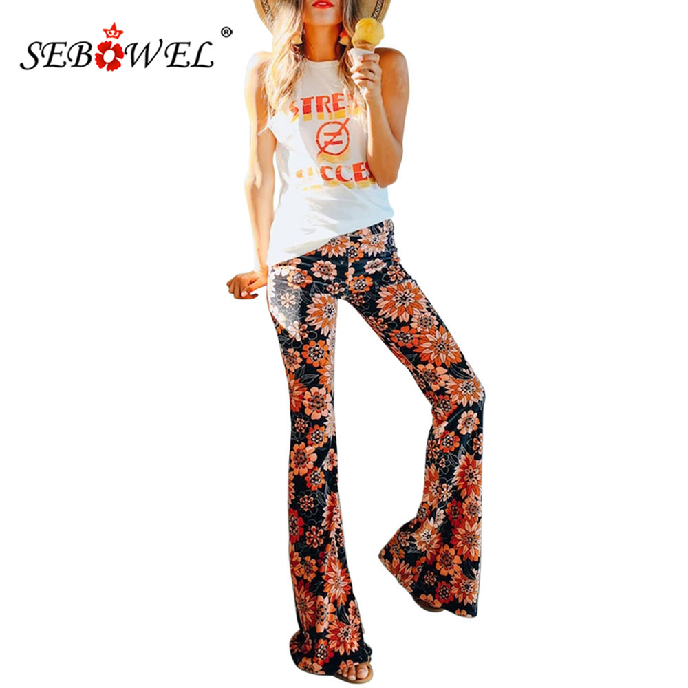 SEBOWEL 2020 Woman's Retro Floral Flower Print Flare Pants Autumn Spring New Female Vintage Mid-rise Bell Legs Long Pants S-XXL