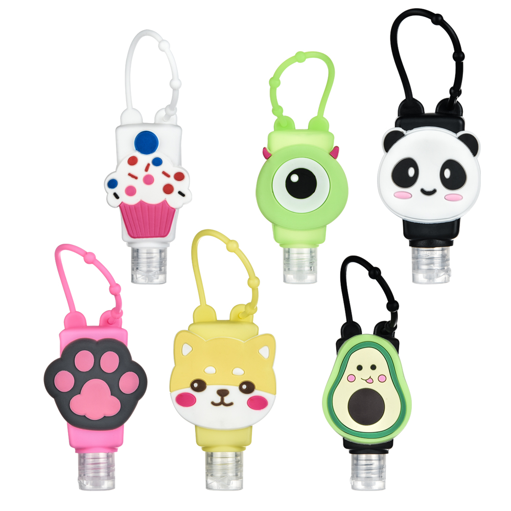 6pcs/set Cute Cartoon Mini Hand Sanitizer Split Bottles Portable Detachable Cover Silicone Bath Shower Hand Gel Holder 19