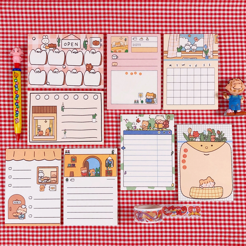 50Sheets/Lot Kawaii Korean INS Cute Forrest Bear Memo Pad N Times Sticky Notes Portable Notepad School Office Supply