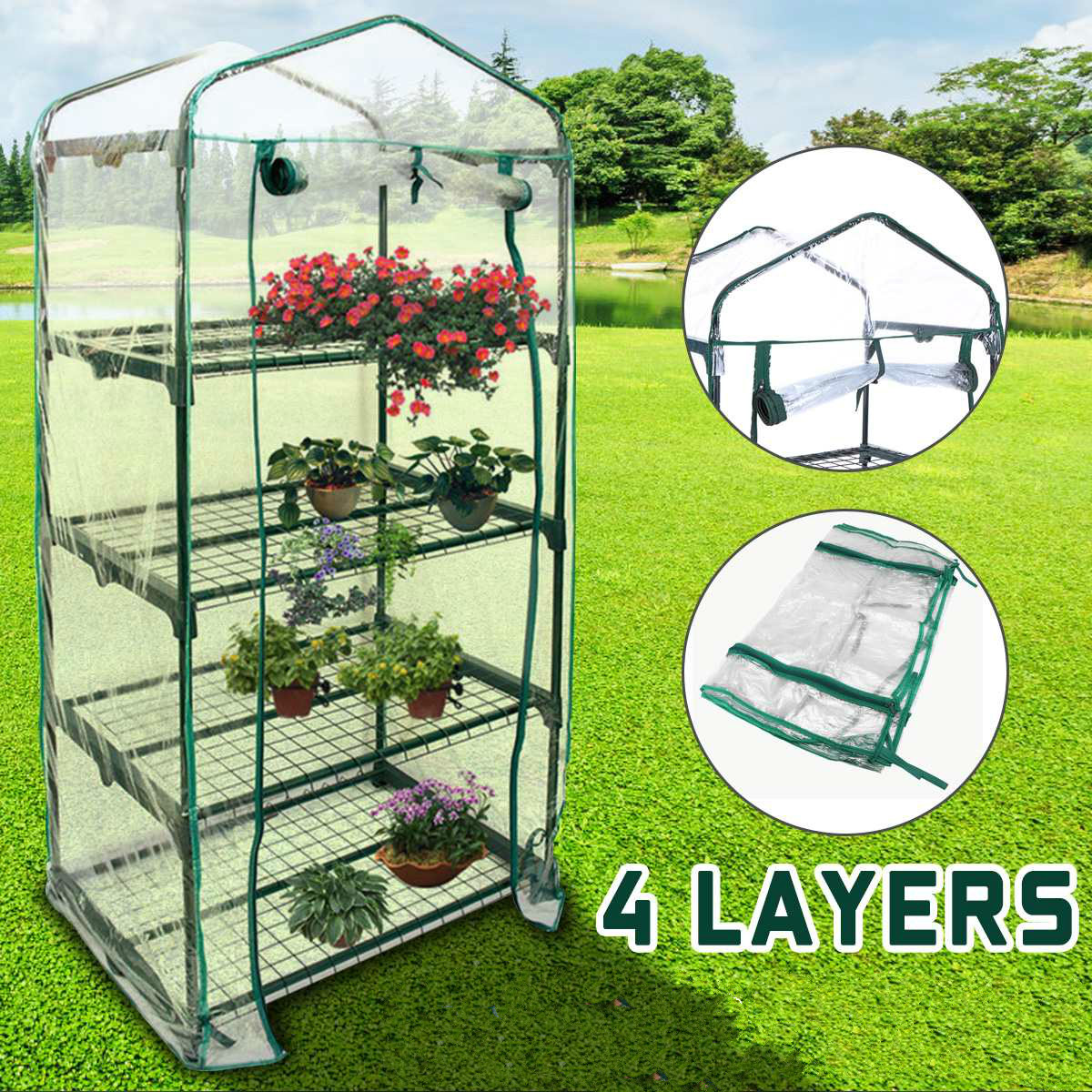 Four Floors Green Household Plant Greenhouse Mini Garden Warm Room PVC Garden Warm Room 155x69x49CM