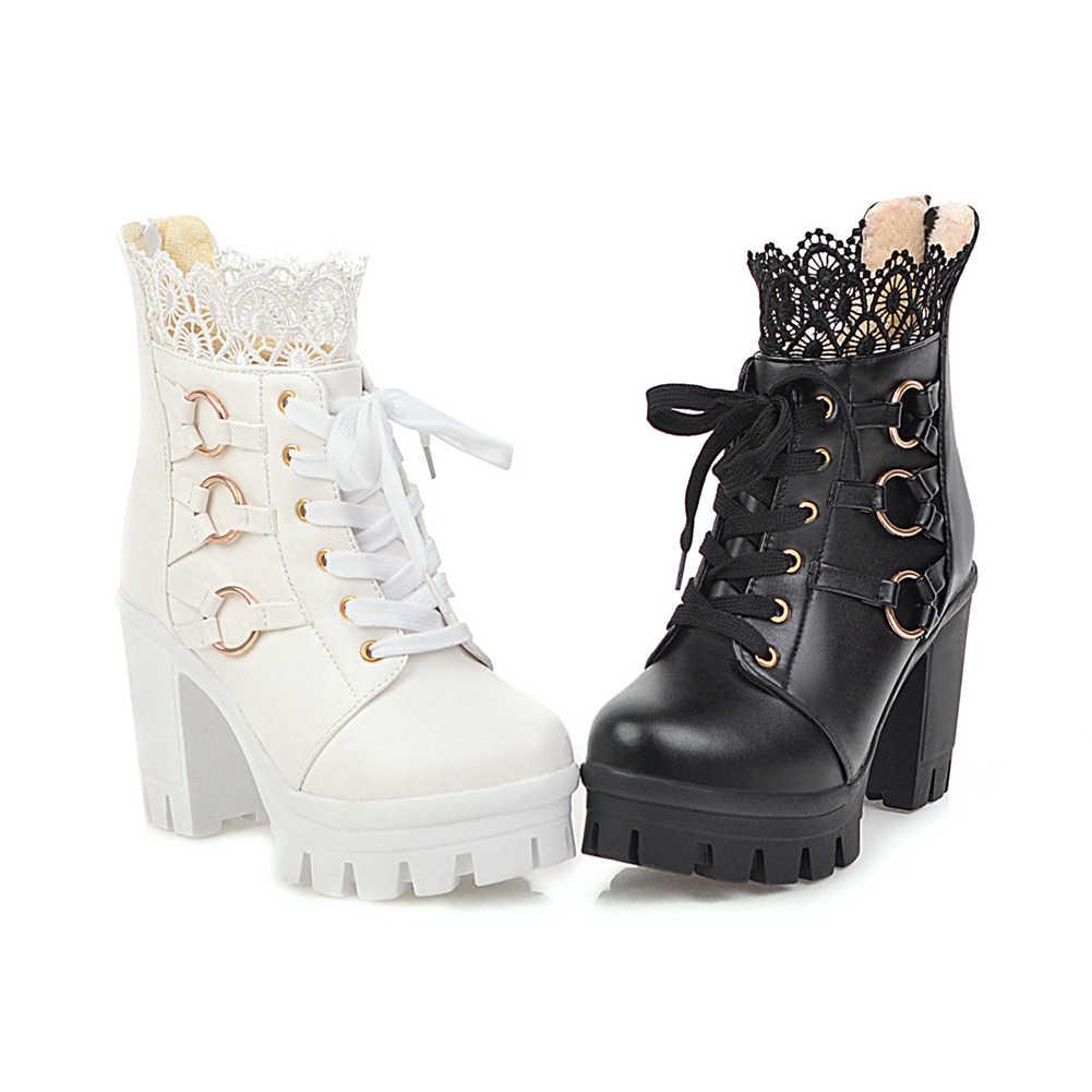 KARINLUNA Dropship 33-43 ฤดูหนาว Warm Fur รองเท้าผู้หญิงข้อเท้ารองเท้าผู้หญิง 2019 Elegant ลูกไม้รองเท้าส้นสูงรองเท้าผู้หญิง