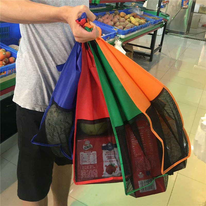 Image 4 - VOGVIGO 4pcs Cart Trolley Supermarket Shopping Bag Grocery Shopping Bags Foldable Tote Eco friendly Reusable Supermarket BagsShopping Bags   -