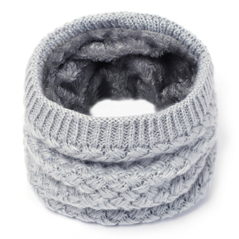 Knit Neck Scarf Women Men Thick Warmer Fleece Inside Winter Snood Scarf Wool Elastic Children Collar Ring Scarves 2019