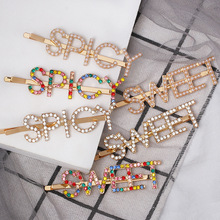 Fashion Crystal Letter Hair Clip Pearl Metal pin Barrette Hairpins Styling Tool Bobby Clips for Women Girl