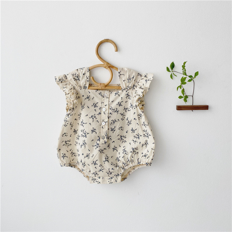 2020 Korean Style baby girls <font><b>bodysuits</b></font> flare <font><b>sleeve</b></font> baby clothes little <font><b>square</b></font> <font><b>collar</b></font> Toddler Newborn Infants floral jumpsuits image