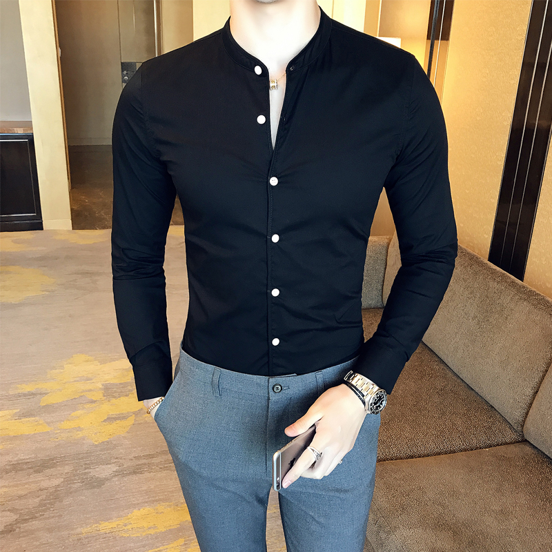 High Quality Men Black Casual Shirt Long Sleeve White Dress Shirts Slim Fit Male Stand Collar 2020 Spring Solid Color Blouse