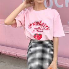 Bonito doce menina harajuku solto morango leite impressão feminina manga curta camiseta harajuku rosa diversão kawaii casual topos ulzzang