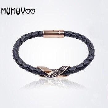 Joyería de moda de alta calidad swa, nueva pulsera de cuerda de cuero de textura simple para hombres, pulsera trenzada de pareja negra con incrustaciones de cuerda de cuero