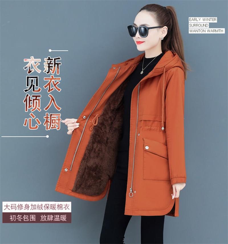 H17b5c9a872f5422eb332050c4b092d1ac NEW2021 Women Parkas Fashion Coat Elegant Winter Mid Long Cotton Jacket Plus velvet thickening Hooded Collar Female Snow Outwear
