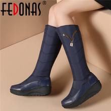 FEDONAS Classic Down Female Big Size Wedges Snow Boots Winter Warm Metal Women Knee High Boots Casual Shoes Woman Long Boots