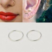 Кольцо для носа серьги кольца 925 пробы серебро тонкий нос пирсинг