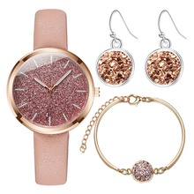 3pcs/set Fashion Leather Band Women Starry Quartz Watch Silver Drop Earring Gold