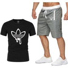 running set suits men Shorts fitness shirt sport mens cotton gym training sports t-shirt 2-piece