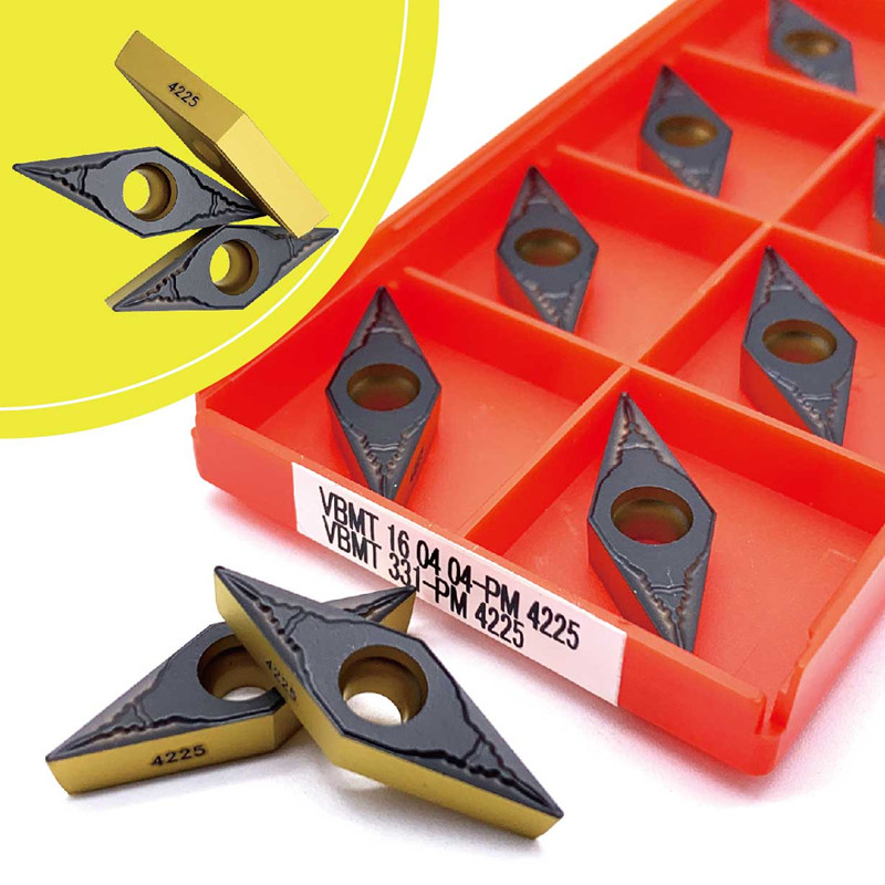 10pcs VBMT160408-PM 4225 VBMT332 CNC Carbide Inserts Lathe Turning tool holder
