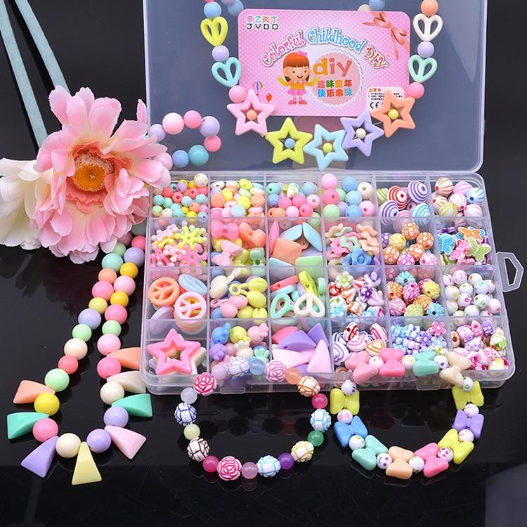 24 Lattice Children Handmade Bead Toy DIY CHILDREN'S For Making Educational Wear Beads Loose Beads GIRL'S Knitting Bracelet