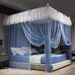 Четырехъядерная антимоскитная сетка из нержавеющей стали, романтичные кружевные сетки для кровати, трехдверный домашний текстиль, Декор, з...