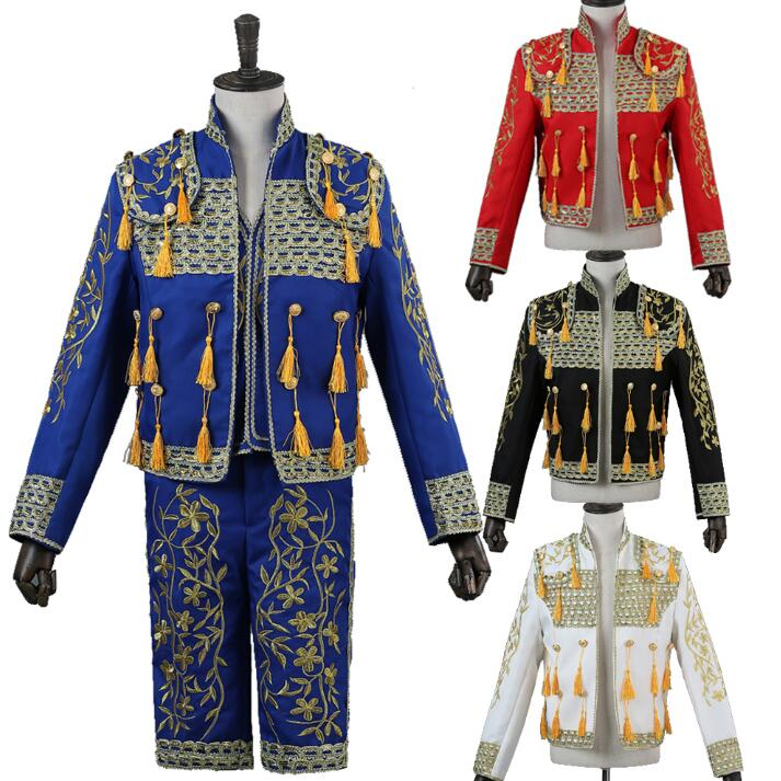 Europe Spain Style Palace Man Sets Shoot Embroideried Suits Stage Performance Clothig For Man Jacket+vest+pants