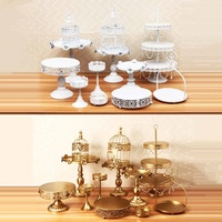 12pcs Metal White Wedding Crystal Set 3 Tier Cupcake Cake Stand Gold Birthday Cake Stand Decoration Table Cupcake Stand Tool